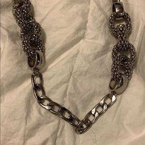 Statement piece. Silver tone chain necklace.